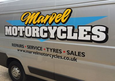 Vinyl sign Marvel Motorcycles van